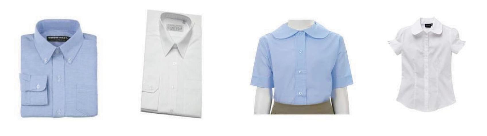 Photo of Shirts – navy, light blue or white, must have a collar